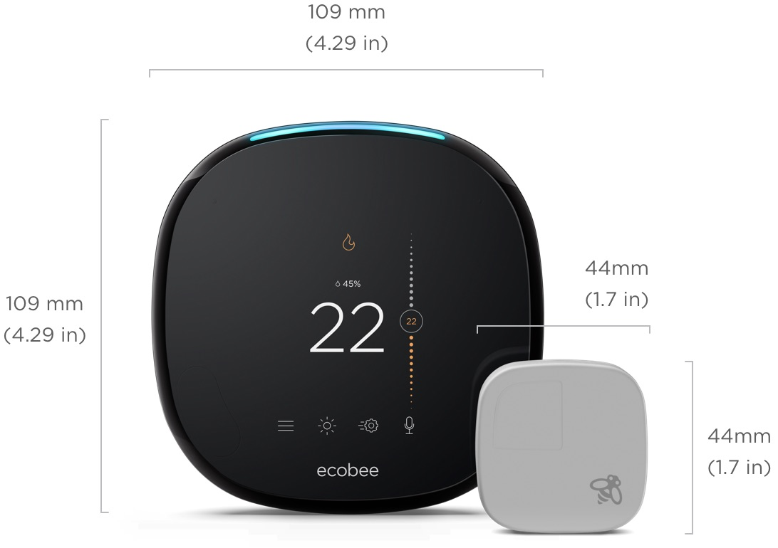 ecobee4 dimensions: 109 millimeters (4.29 inches) by 1099 millimeters (4.29 inches)