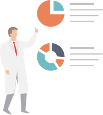 Illustration of a scientist with graphs