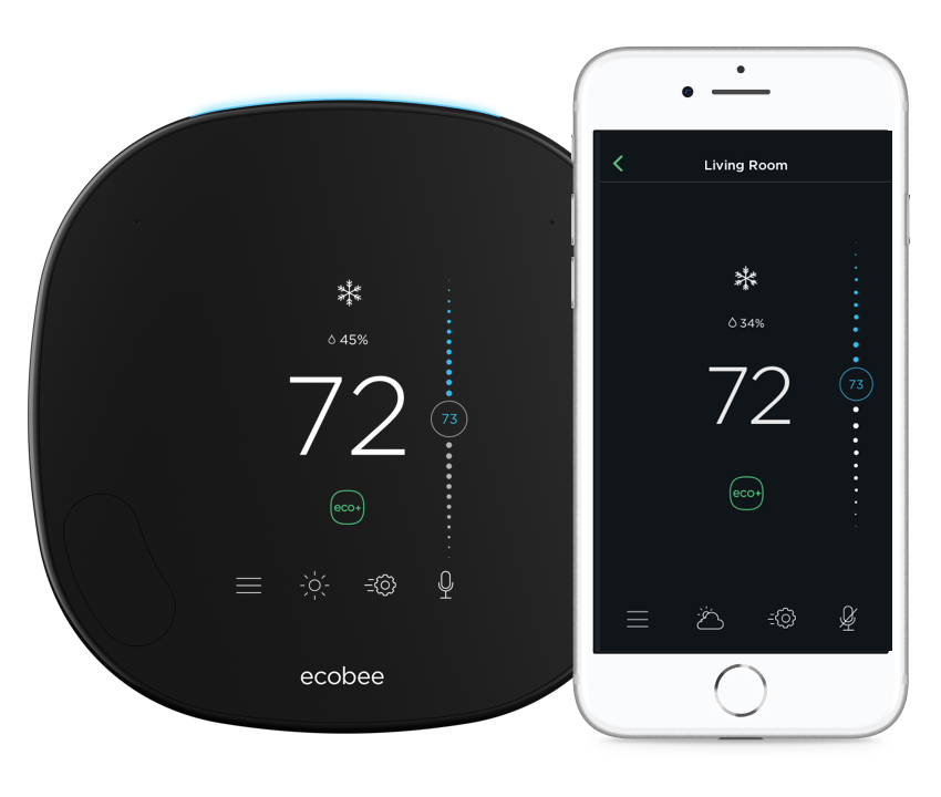 ecobee thermostat and mobile app with eco+ enabled